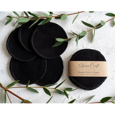 Black  Bamboo and Cotton Makeup Rounds