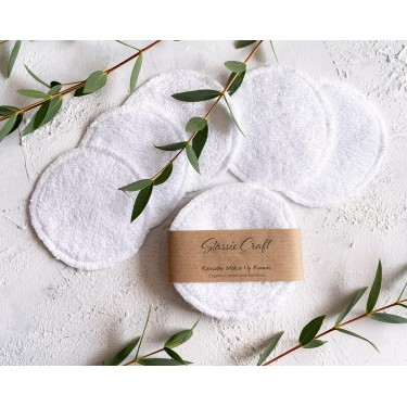 White Organic Bamboo and Cotton Makeup Rounds