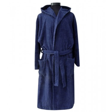 Dark Blue Pure Cotton Adult Bathrobe