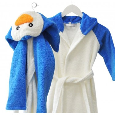 Kids' bathrobe Pinguin White and Blue
