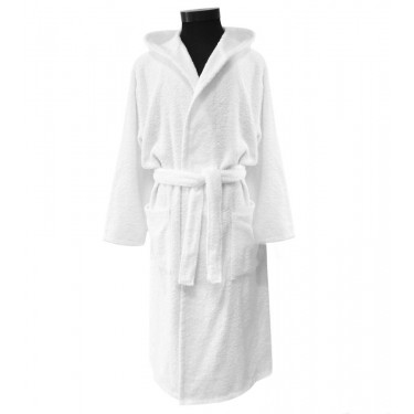 White Pure Cotton Adult Bathrobe