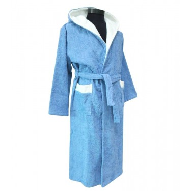 Teens' bathrobe double hood light blue and white